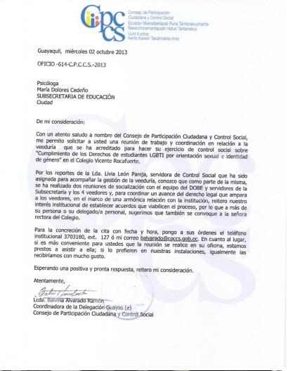 Respuesta del consejo de participacion ciudadana y control social solicitando reunion por aplazamiento de veeduria al vicente rocafuerte silueta x - diane rodriguez