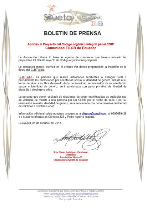 Boletin de Prensa - Aportes TILGB al COIP codigo organico integral penal del Ecuador - Silueta X - Diane Rodríguez