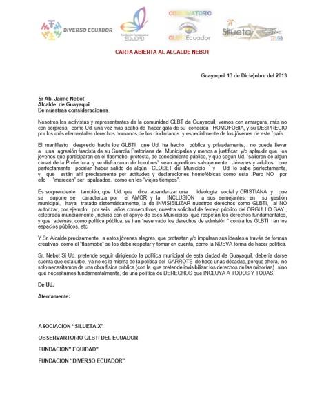 Carta abierta al Alcalde Nebot por parte de Diverso Ecuador - Asociación SIlueta X - Observatorio GLBTI - Fundación Equidad sobre comentario homófico