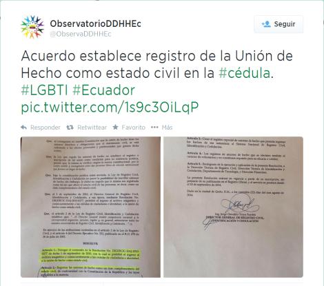 Rafael Correa anunció que la unión de hecho se reconocerá como estado civil-SiluetaX
