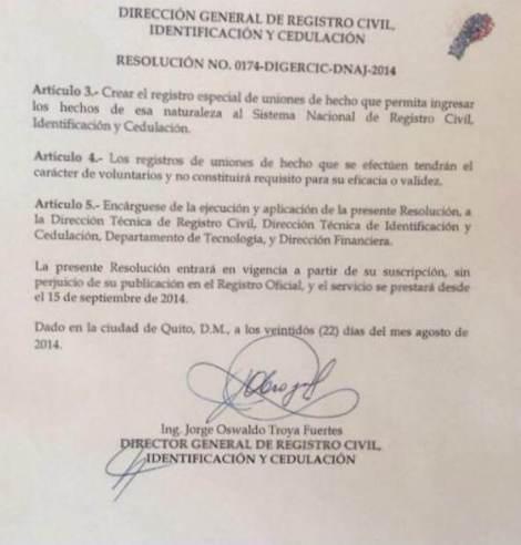 Resolución 174 del Registro Civil del Ecuador que  reconoce como estado civil uniones de hecho - Acuerdos con Rafael Correa (1)