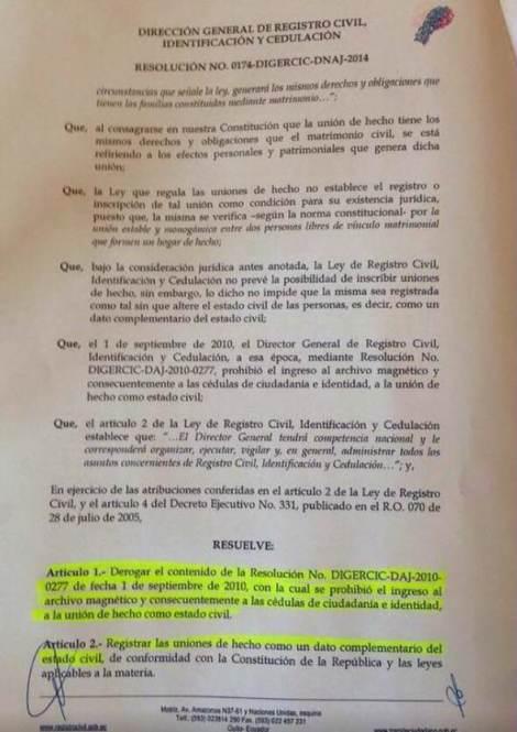 Resolución 174 del Registro Civil del Ecuador que  reconoce como estado civil uniones de hecho - Acuerdos con Rafael Correa (2)