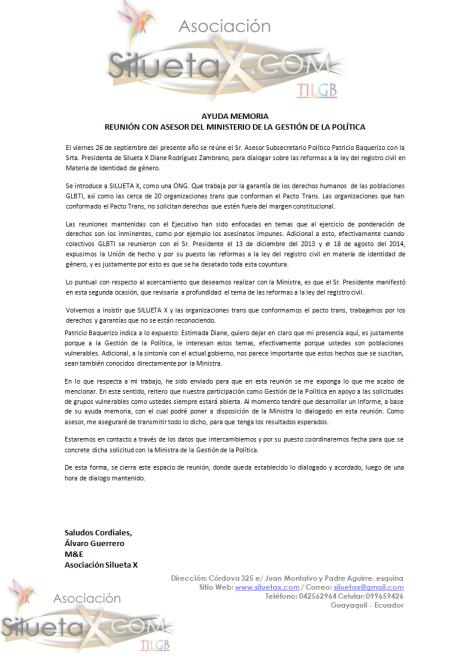 Ayuda Memoria de la Reunión Mantenida con Asesor del Ministerio de la Gstión de la Política en Ecuador sobre las reformas a la ley del registro civil en materia de identidad de género