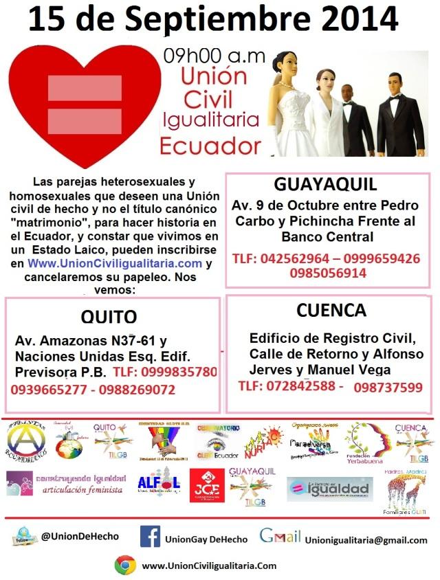 Invitación a Registras uniones de Hechos heterosexuales y homosexuales en Ecuador como hecho historico de Laicidad sin derecho canonico de matrimonio - Unión Civil Igualitaria - Administrada por Silueta X