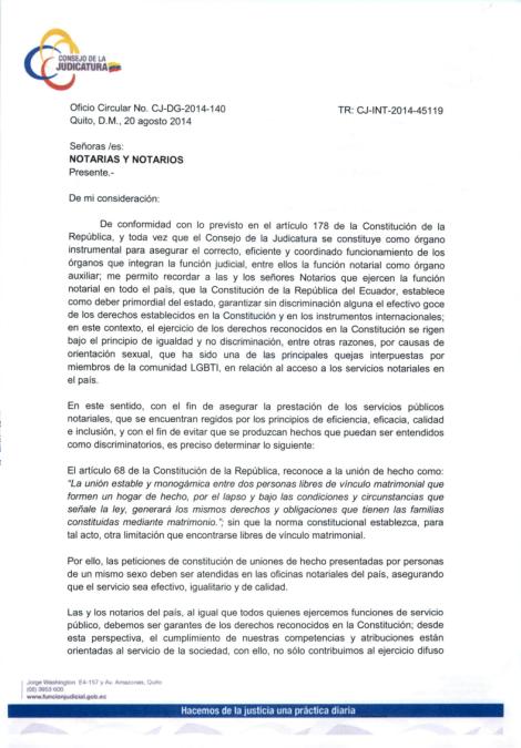 Oficio Circular a Notarías y Notarios del Ecuador enviado a la Asociación Silueta X