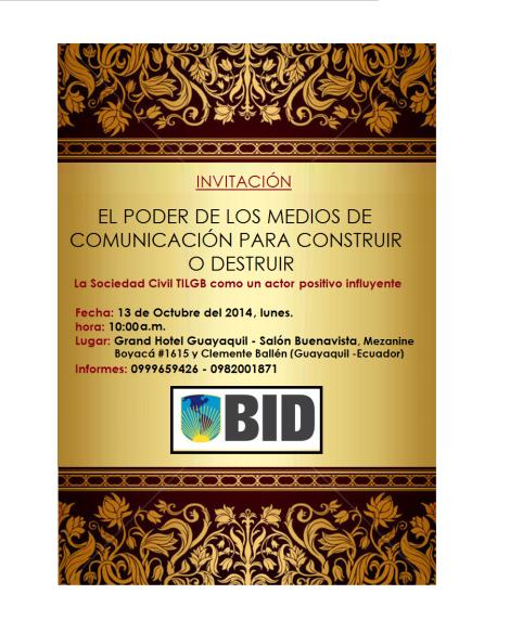 sx Invitación - El Poder de los Medios de Comunicación para construir o destruir - La sociedad civil TILGB como un actor positivo influyente por Diane Rodríguez