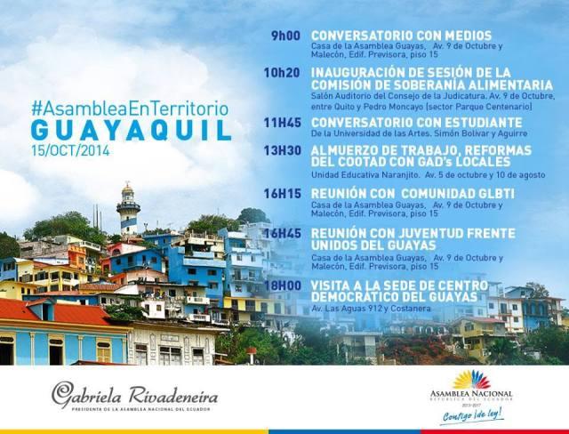 Agenda de Gabriela Rivadeneira en Guayaquil para el 15 de Octubre del 2014 - Reunión con Colectivos GLBTI