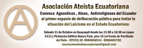 Asociación Ateista Ecuatoriana invita al 1er espacio de deliberación pública para tratar el laicismo en Ecuador 2014