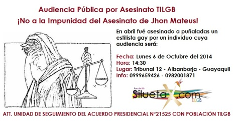 Audiencia Pública por el Asesinato de Jhon Orlando Jimenez Mateus - Acuerdos presidenciales a traves de la unidad de Seguimiento de la Asociación Silueta X