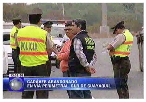 Cadáver abandonado en vía perimetral, sur de Guayaquil.