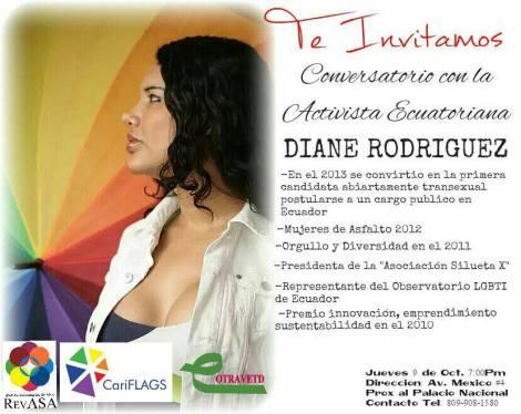Conversatorio con la Activista LGBT Ecuatoriana Diane Rodríguez en República Dominicana - Promueven Revasa - Cariflags - Contravetd
