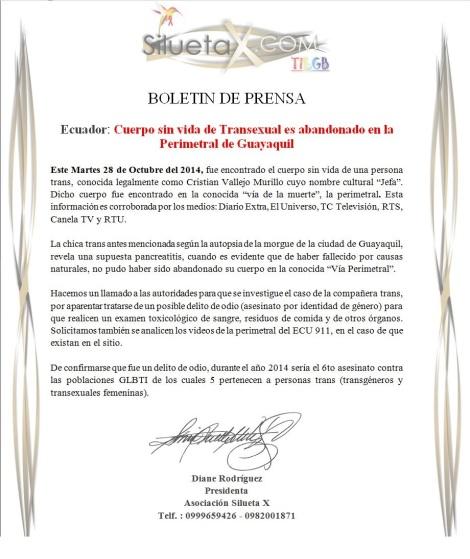 Cuerpo sin vida de Transexual es abandonado en la Perimetral de Guayaquil - posible asesinato o delito de odio contra LGBTI en Ecuador - Asociación Silueta X