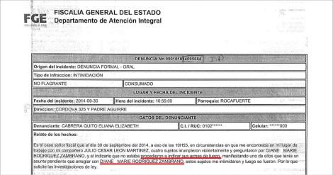 Fiscalía del Ecuador Recepta denuncia de amenazas contra activista defensora GLBTI