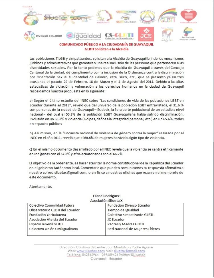GLBTI Solicitan a la Alcaldía de Guayaquil Ordenanza Municipal anti discriminación - COMUNICADO PÚBLICO A LA CIUDADANÍA DE GUAYAQUIL