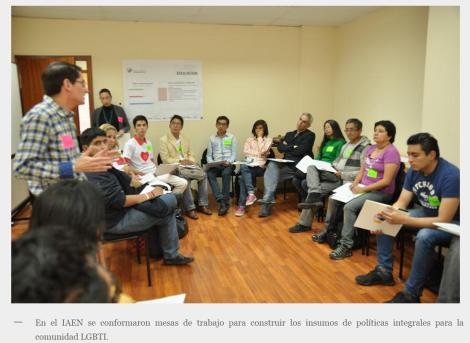 MCDS realizó en Quito taller para recoger insumos que permitan la construcción de la política pública para la comunidad LGBTI