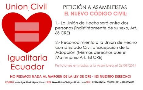 Petición a asambleistas nuevo codigo civil - reconocimiento de la unión de hecho como estado civil y la unión entre dos personas indistintamente de su sexo