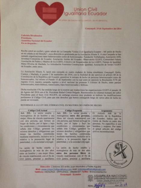 Petición a asambleistas nuevo codigo civil - reconocimiento de la union de hecho como estado civil