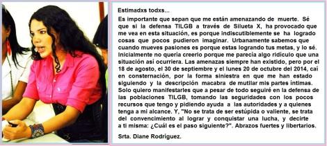 Amenazas y Tentativa de asesinato contra defensora de los derechos humanos LGBTI en Ecuador Diane marie Rodríguez Zambrano