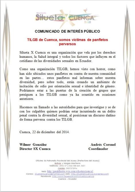 Comunidad TILGB de Cuenca preocupada por panfletos incitadores al odio