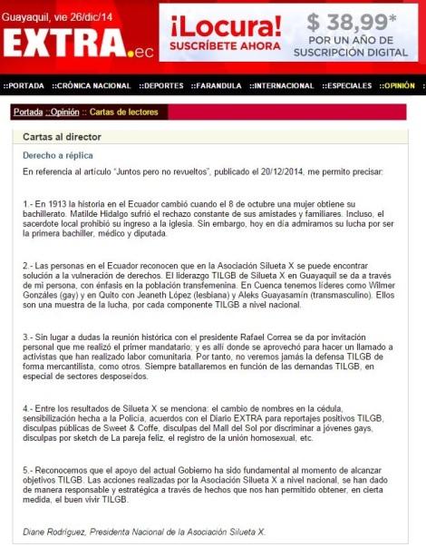 derecho a la replica TILGB - Diane Rodríguez - Asociación Silueta X