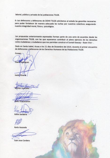 Manifiesto de los y las defensores y defensoras de derechos humanos TILGB LGBT, capitulo Yungilla, Cuenca, Ecuador realizado por la Asociación Silueta X 2