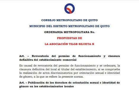 Propuestas de la Asociación Silueta X para la inclusión de la Ordenanza LGBT de Quito