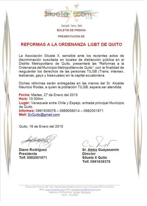 Reformas a la Ordenanza LGBT del Municipio de Quito - Ecuador