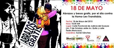 Abrazos y besos gratis por el día de la Homo-les-transfobia IDAHO - 2015 - Asociación SIlueta X