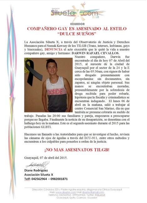 Compañero gay es asesinado en Ecuador al estilo dulce sueños