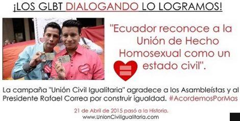 Ecuador reconoce la Unión de Hecho Homosexual como un estado civil- SiluetaX