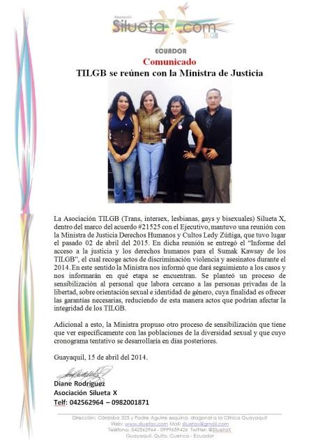 La Asociación Silueta X a través de Diane Rodríguez se reune con la Minista de Justicia Ledy Zuñiga para tratar temas de interes LGBTI