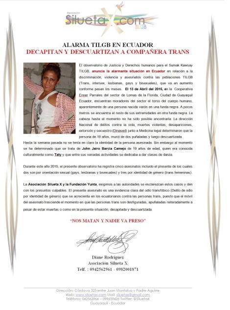 Quinto 5to asesinato contra las poblaciones TILGB 2015 - Observatorio de Justicia y Derechos Humanos para el Sumak Kawsay - Asociación Silueta X