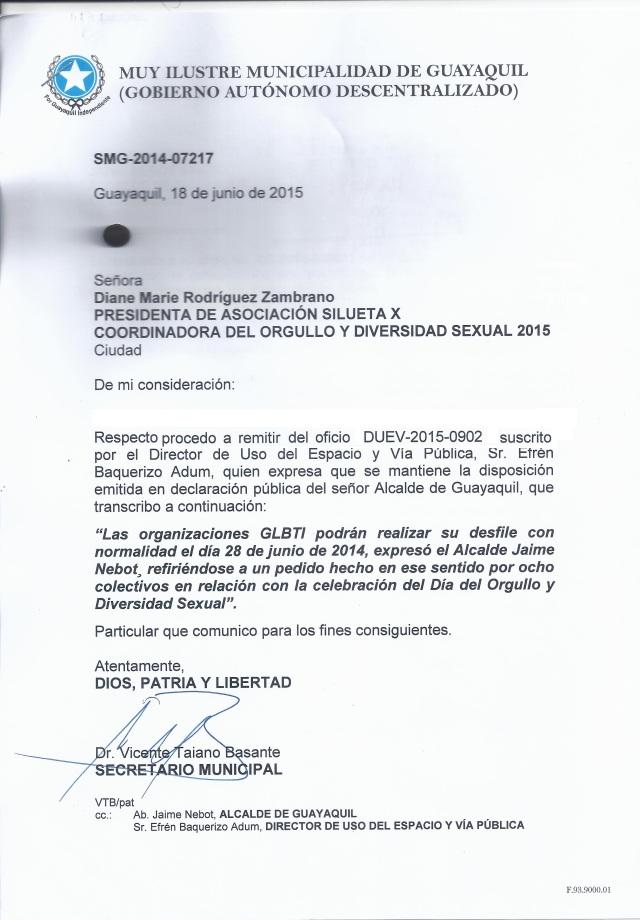 Permiso del desfile del Orgullo y Diversidad Sexual 2015 - Asociación Silueta X Guayaquil Ecuador