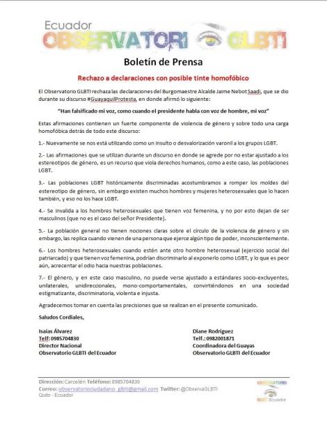 Rechazo a declaraciones con posible tinte homofóbico - Observatorio GLBTI del Ecuador