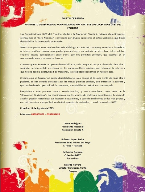 BOLETÍN DE PRENSA - Colectivos LGBT de Ecuador rechazan paro nacional del 13 de agosto de 2015