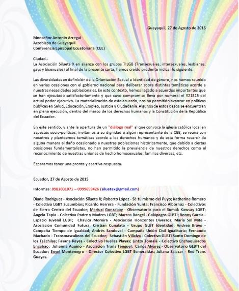 Carta abierta a Monseñor Arregui Arzobispo de Guayaquil y miembro de la conferencia episcopal de Ecuador por parte de los LGBT liderdos por la Asociación Silueta X