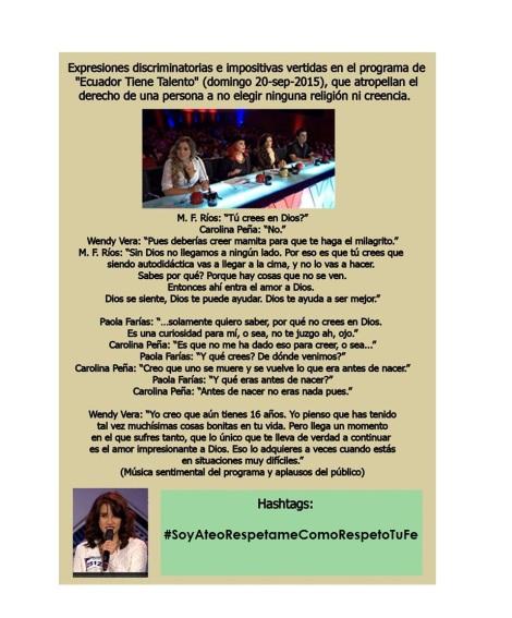 Adolescente atea es discriminada por panelistas conservadores en programa farandulero de Ecuador