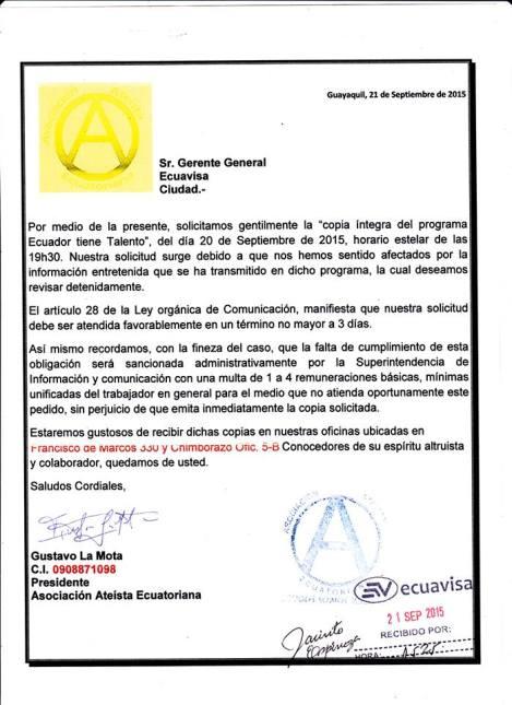 Asociación atea solicita videos a Ecuavisa por presumir discriminación basada en la fe religiosa