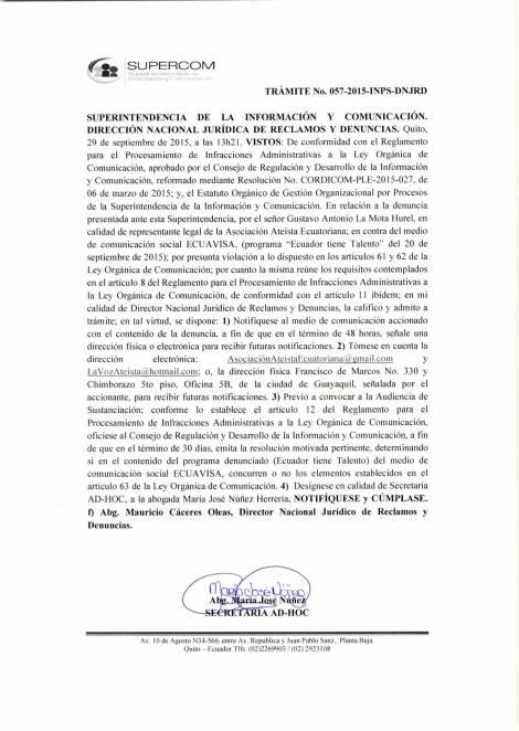 Supercom admite denuncia de Ateos contra Ecuavisa