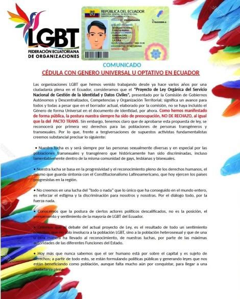 Comunicado sobre genero universal y opcional en la cedula -Federación Ecuatoriana de Organizaciones LGBT 1