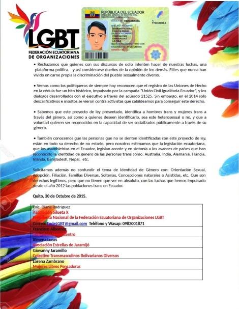 Comunicado sobre genero universal y opcional en la cedula -Federación Ecuatoriana de Organizaciones LGBT 2
