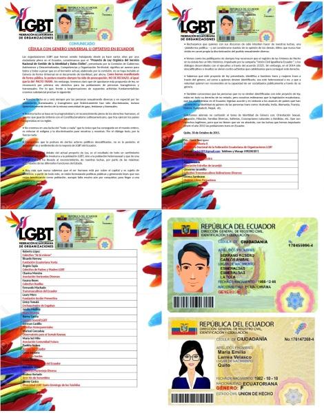Comunicado sobre genero universal y opcional en la cedula -Federación Ecuatoriana de Organizaciones LGBT