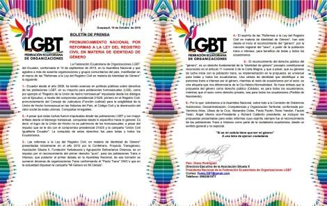 PRONUNCIAMIENTO NACIONAL POR REFORMAS A LA LEY DEL REGISTRO CIVIL EN MATERIA DE IDENTIDAD DE GÉNERO - Federación ecuatoriana de Organizaciones LGBT - Asociación Silueta X