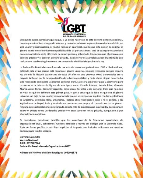 Declaraciones de Diane Rodríguez, presidenta nacional de la Federación Ecuatoriana de organizaciones LGBT, sobre Genero Universal o Género opcional 2