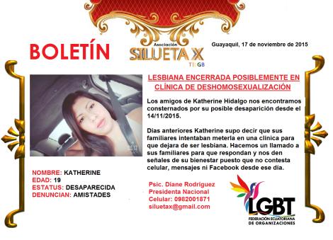 Lesbiana posiblemente encerrada en clinica de tortura - Guayaquil - Asociación Silueta X