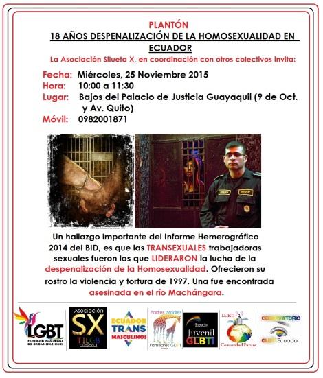 Platón por la Despenalización de la Homosexualidad en Ecuador - 2015 - Asociación Silueta X