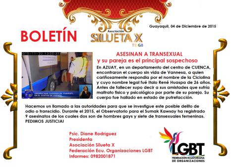 Asesinan a Transexual a golpes en la ciudad de Cuenca - Ecuador - Asociación Silueta X
