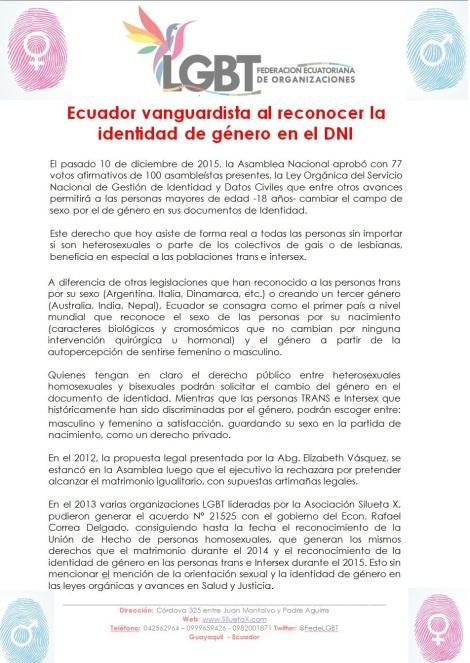Boletín - Ecuador vanguardista al reconocer la identidad de género en el DNI