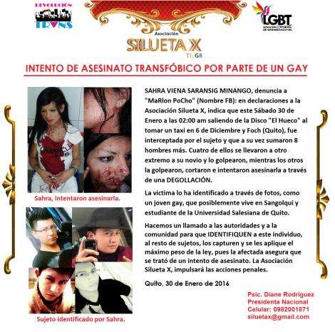Intento de asesinato transfóbico por parte de un hombre gay - Quito Ecuador - Asociación Silueta X