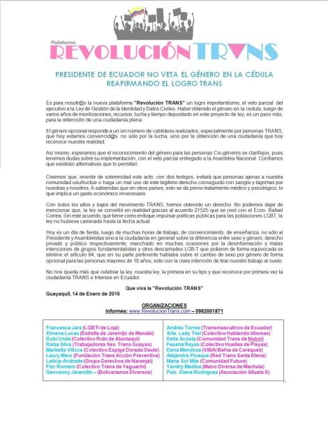 Pronunciamiento PRESIDENTE DE ECUADOR NO VETA EL GÉNERO EN LA CÉDULA REAFIRMANDO EL LOGRO TRANS - plataforma revolución trans ecuador